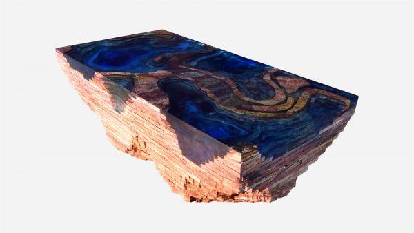 Mesa auxiliar topográfica cantera roja con resina azul