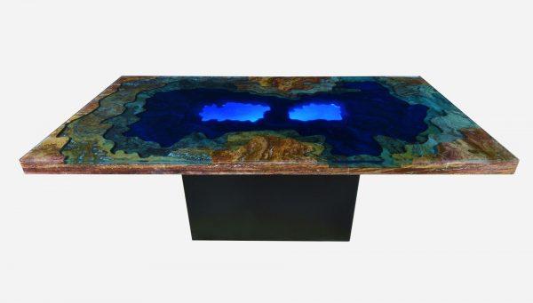 Mesa iluminada topografica de marmol y resina