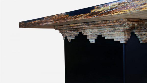 Mesa de comedor iluminada topografica de marmol y resina close up