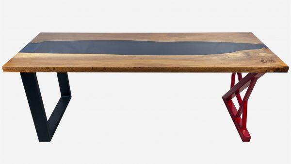 escritorio river de resina y parota vista frente