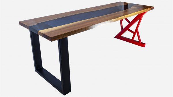 escritorio river de resina y parota foto tres cuartos