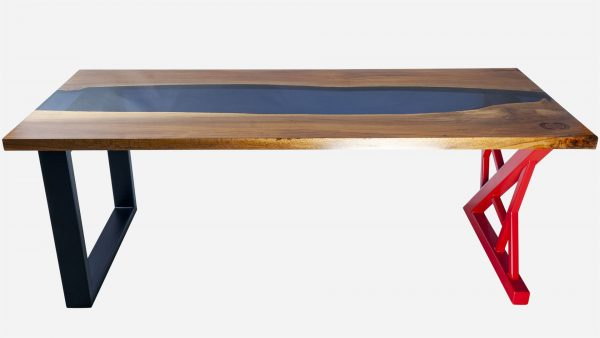escritorio river de resina y parota frente