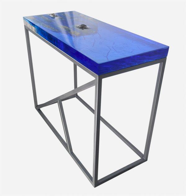 Mesa consola alta resina azul con costera de marmol