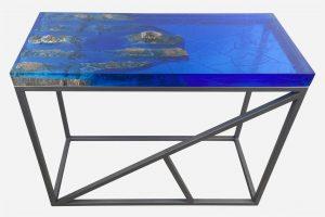 Mesa consola alta resina azul costera marmol en bruto