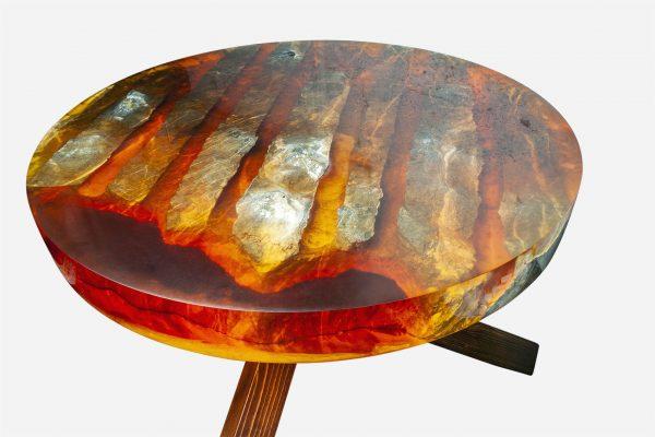 Mesa resina naranja y costera de marmol transparencia