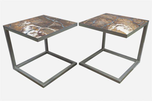 Doble mesa auxiliar estilo kintsugi marmol rainforest fracturado con resina epoxica base grafito
