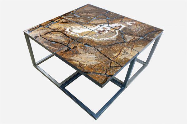 conjunto de 4 mesas seiza estilo kintsugi marmol fracturado con resina